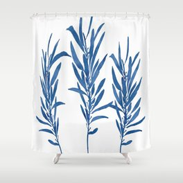 Eucalyptus Branches Blue Shower Curtain