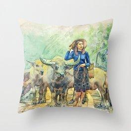 Animals Asia Buffalo Throw Pillow