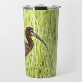 Strutting White-faced Ibis in Breeding Plumage Travel Mug