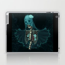 Skeleton with veil and white roses Laptop & iPad Skin