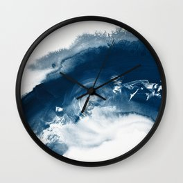 Building the Universe:  A minimal abstract acrylic painting in blue and white by Alyssa Hamilton Wall Clock