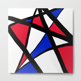 Geometric Red, White, and Blue Stars Abstract Metal Print