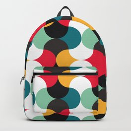 Geometric Pattern #24 (red blue yellow curves) Backpack
