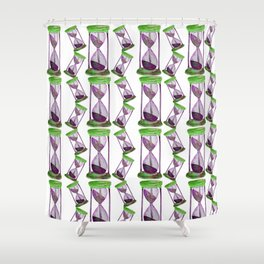 Hourglass tracker in purple and green Shower Curtain