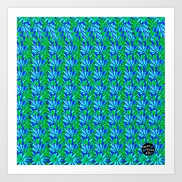 Cannabis Print Green and Blue Art Print