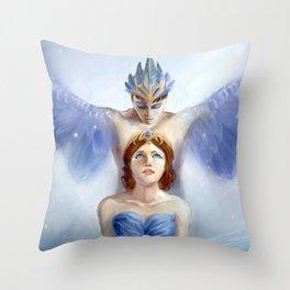Bluebird and Florine Throw Pillow