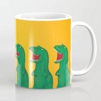 t rex Mugs featuring T-Rex by Yana Elkassova