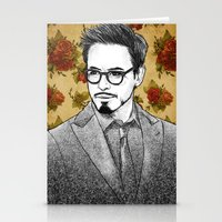 robert downey jr Stationery Cards featuring ROBERT DOWNEY JR by FISHNONES