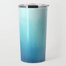 Modern teal sky blue paint watercolor brushstrokes pattern Travel Mug