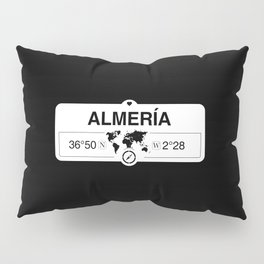 Almería Andalusia with World Map GPS Coordinates and Compass Pillow Sham