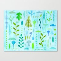 botanical Canvas Prints featuring Botanical by messy bed studio