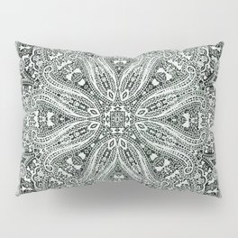 big paisley mandala in black and white Pillow Sham