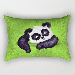Cute Painted Panda Bear on green Rectangular Pillow