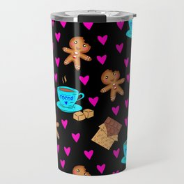 Lovely sweet gingerbread men cookies, chocolate, cups of hot cocoa, cute hearts hygge winter pattern Travel Mug