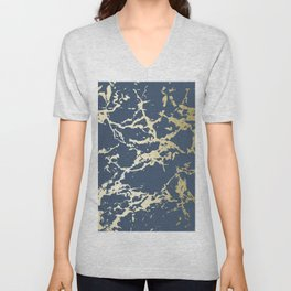 Kintsugi Ceramic Gold on Indigo Blue Unisex V-Neck
