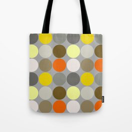 Mid-Century Giant Dots, Gray, Gold and Orange Tote Bag