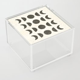 Moon Phases - Black on Cream Acrylic Box