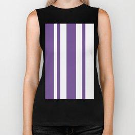 Mixed Vertical Stripes - White and Dark Lavender Violet Biker Tank