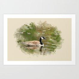 Watercolor Goose Art Art Print