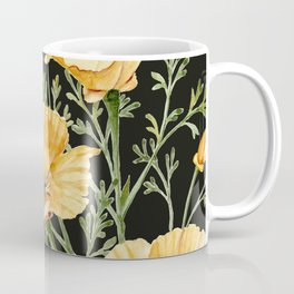 California Poppies on Charcoal Black Coffee Mug
