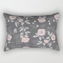 Bramble Roses Dark Floral Rectangular Pillow