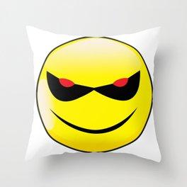 Evil Smile Face Button Emoticon Throw Pillow