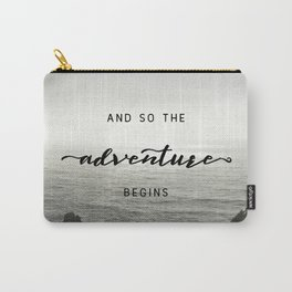 And So The Adventure Begins - Ocean Emotion Black and White Carry-All Pouch