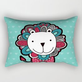 Doodle Lion on Aqua Triangle Background Rectangular Pillow