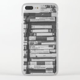 VHS Retro (Black and White) Clear iPhone Case