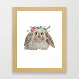 Cute Bunny with Flower Crown Framed Art Print