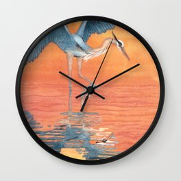 Blue Heron dance Wall Clock