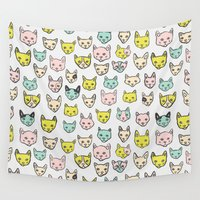 kittens Wall Tapestries featuring Kittens by Elisa MacDougall