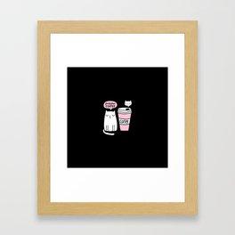 Meow coffee cat Framed Art Print