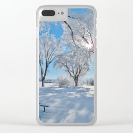 Icy Shadows Clear iPhone Case