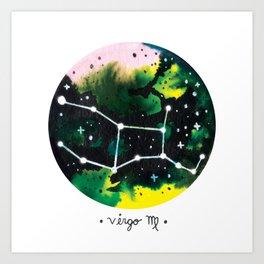Virgo Constellation Watercolor Art Print