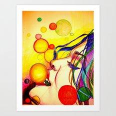 Kissing bubbles Art Print