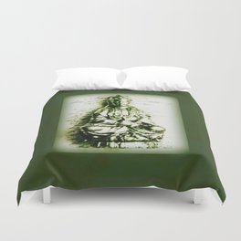 Antique Green Kwan Yin Duvet Cover