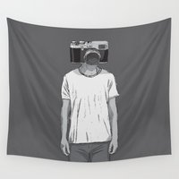 the dude Wall Tapestries featuring Camera dude by Lasse Westerberg