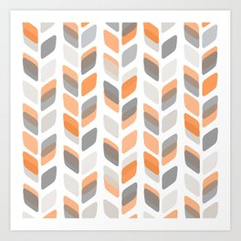 Modern Rectangle Print with Retro Abstract Leaf Pattern Art Print