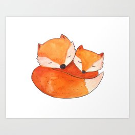Sleeping foxes Art Print