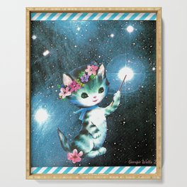 Space Witch Cat handcut collage Serving Tray