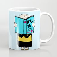 snoopy Mugs featuring How to conquer a woman's heart by Alexandre Reis