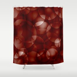 Dark intersecting burgundy translucent circles in bright colors with a brick glow. Shower Curtain