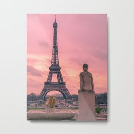 Pink View of Eiffel Tower Paris France Metal Print