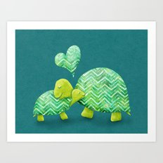 Turtle Hugs Art Print