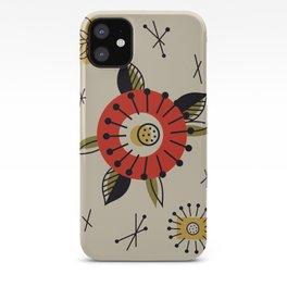 Red Mid Century Modern Flower  iPhone Case