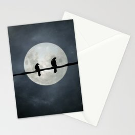 Two Crows In The Light Of A Silvery Moon Stationery Cards