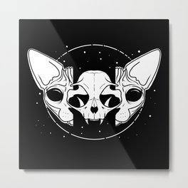 Sphynx Cat and Its Skull - dark art - black and white Metal Print