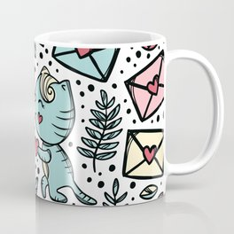 Cat makes marriage proposal Enamored kitten gives his heart to sweetheart standing on his knee Coffee Mug
