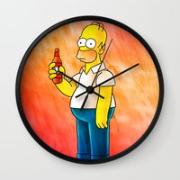 homer Wall Clocks featuring Homer & Duff by Lukas Stobie